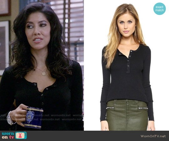 Splendid Thermal Henley worn by Stephanie Beatriz on Brooklyn Nine-Nine