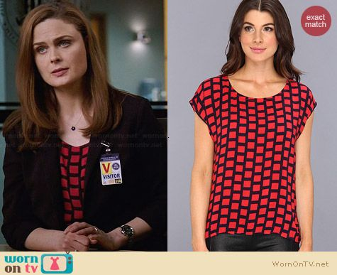 Splendid Window Pane Tee worn by Emily Deschanel on Bones