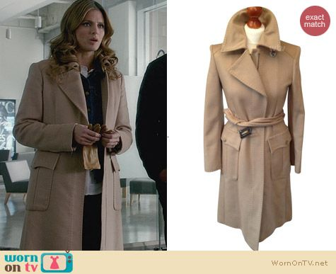 Sportmax Beige Cashmere Coat worn by Stana Katic on Castle
