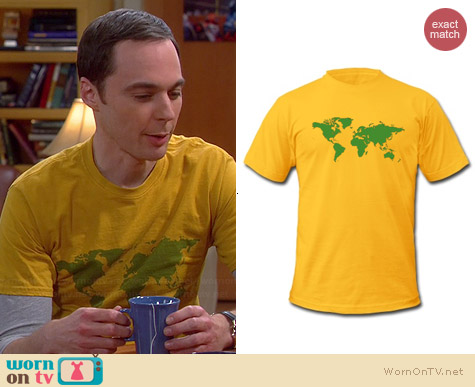Spread Shirt World Map Shirt worn by Jim Parsons on The Big Bang Theory