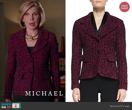 St John Collection 2 Button Blazer in Boysenberry worn by Christine Baranski on The Good Wife