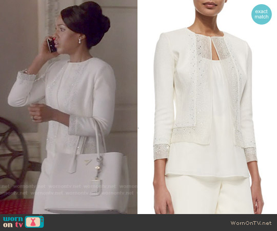 St John Collection Beaded Organza-Trimmed Boucle Jacket worn by Kerry Washington on Scandal