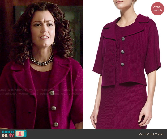 St John Collection Chevron Twill Knit Elbow-Sleeve Jacket in Boysenberry worn by Bellamy Young on Scandal