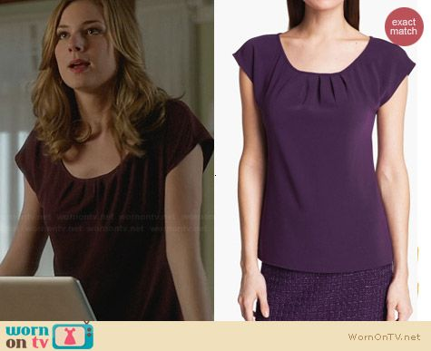 St John Collection Purple Crepe Top worn by Emily VanCamp on Revenge
