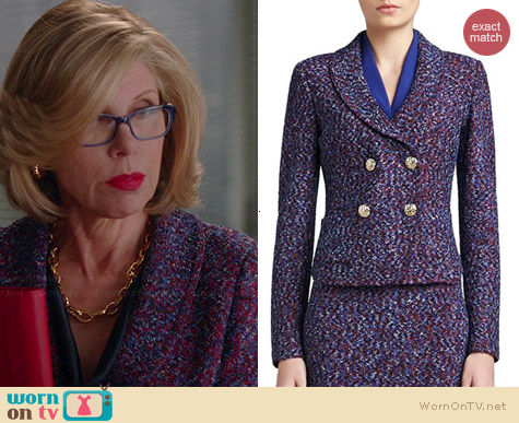 St John Collection Looped Lash Tweed Knit Jacket worn by Christine Baranski on The Good Wife