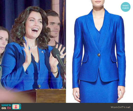 St John Collection Matte & Shine Chevron Knit Jacket worn by Bellamy Young on Scandal