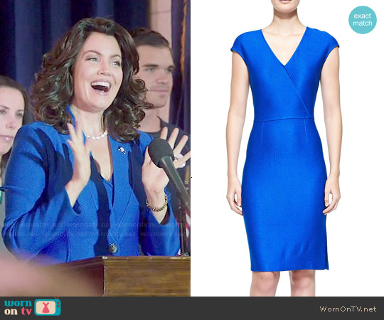 St John Collection Matte & Shine Chevron Knit Dress worn by Mellie Grant on Scandal