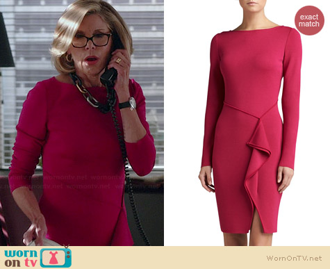St John Collection Milano Knit Bateau Neck Long Sleeve Draped Dress worn by Christine Baranski on The Good Wife