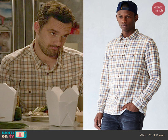Stapleford Dawson Washed Flannel Shirt in White worn by Jake Johnson on New Girl