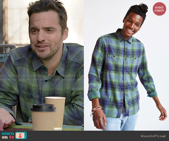 Stapleford Mission Washed Flannel Button-Down worn by Jake Johnson on New Girl