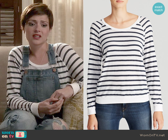 Stateside Stripe Thermal Raglan Tee worn by Italia Ricci on Chasing Life