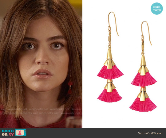 Stella & Dot Eden Tassel Chandeliers worn by Lucy Hale on PLL