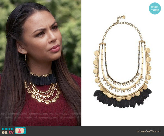 Stella & Dot Plume Necklace worn by Janel Parrish on PLL