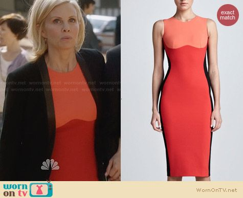 Stella McCartney Contoured Colorblock Sheath Dress in Coral worn by Monica Potter on Parenthood