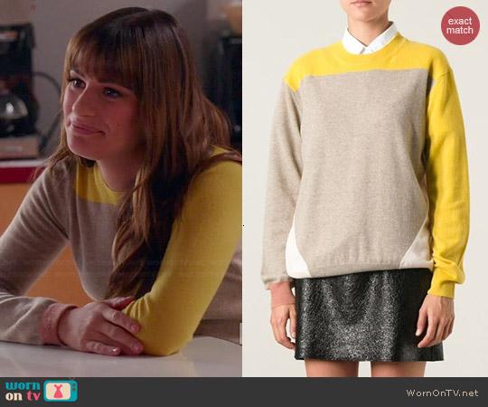 Stella McCartney Color Block Sweater worn by Rachel Berry on Glee