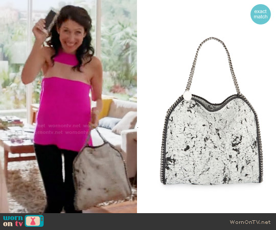 Stella McCartney Falabella Splash Tote worn by Abby McCarthy on GG2D