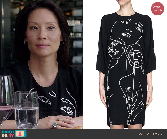 Stella McCartney Face Graphic Shift Dress worn by Joan Watson on Elementary