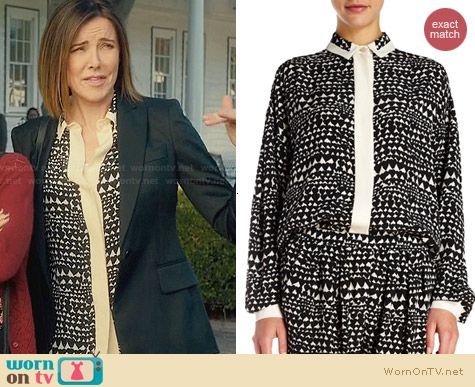 Stella McCartney Heart Print Covered Placket Blouse worn by Christa Miller on Cougar Town