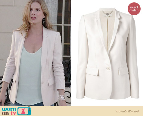 Stella McCartney Long White Blazer worn by Emily Thorne on Revenge