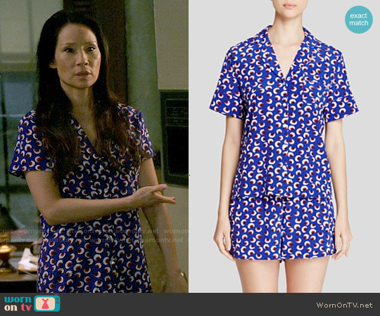 Stella McCartney Poppy Snoozing Short Pajama Set worn by Lucy Liu on Elementary