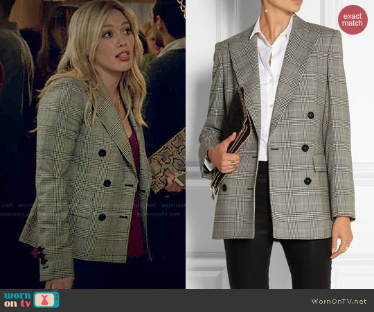 Stella McCartney Prince of Wales Check Double Breasted Blazer worn by Hilary Duff on Younger