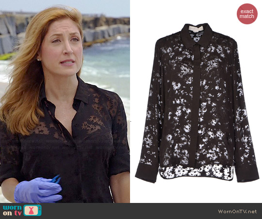 Stella McCartney Sheer Floral Blouse worn by Sasha Alexander on Rizzoli & Isles