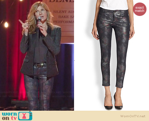 Stella McCartney Skinny Metallic Printed Ankle Jeans worn by Connie Britton on Nashville