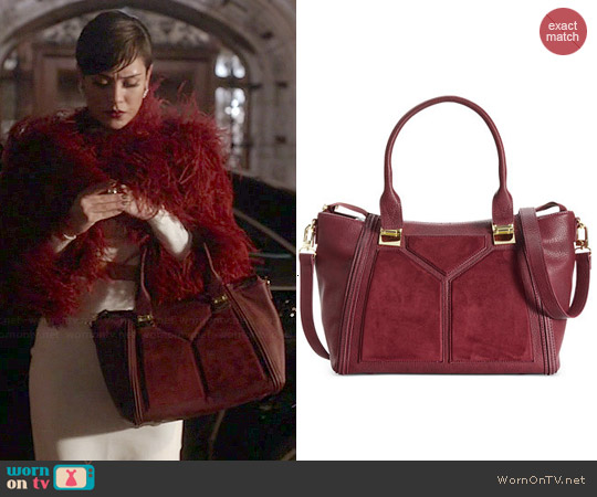 Steve Madden Bessiee Satchel in Burgundy worn by Grace Gealey on Empire