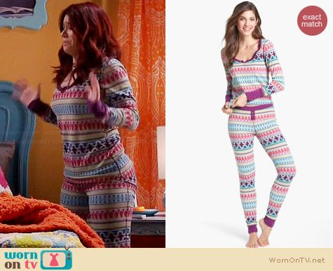 Steve Madden Cozy Up Printed Thermal Pajama Set in Cabin Fever worn by Jillian Rose Reed