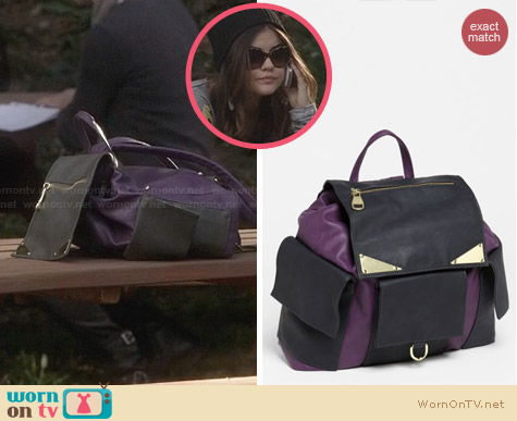 Steve Madden Purple Faux Leather Backpack worn by Lucy Hale on PLL