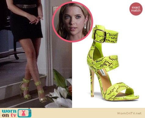 Steve Madden Mysterii Heels in Green Multi worn by Ashley Benson on PLL