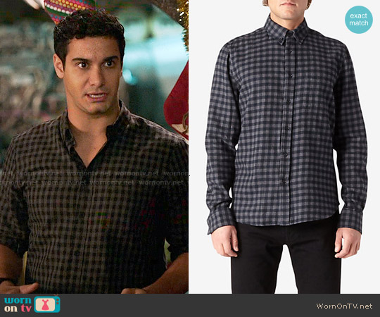 Steven Alan Classic Collegiate Shirt in Charcoal Black Gingham worn by Elyes Gabel on Scorpion