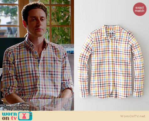 Steven Alan Reverse Seam Shirt in Ecru Multi Grid worn by Paulo Costanzo on Royal Pains