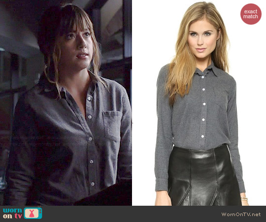 Steven Alan Reverse Seam Flannel Shirt worn by Chloe Bennett on Agents of SHIELD