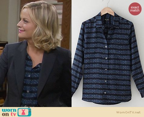 Steven Alan Silk Boyfriend Shirt in Cobalt Multi worn by Amy Poehler on Parks & Rec