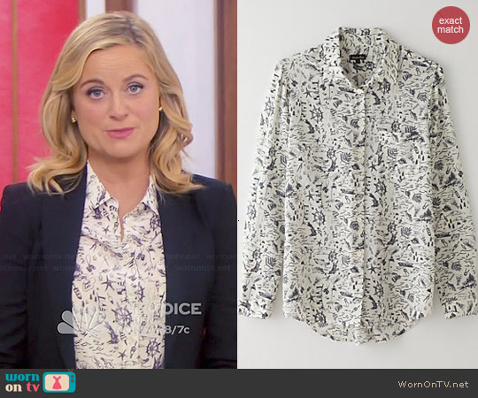 Steven Alan Silk Boyfriend Shirt in Ecru Map worn by Amy Poehler on Parks & Rec