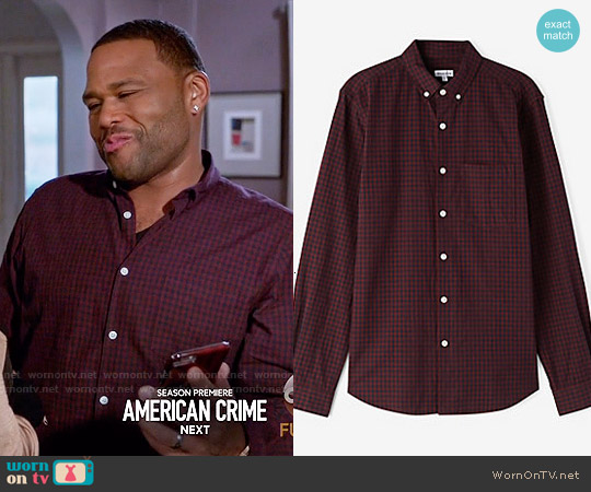 Steven Alan Single Needle Shirt in Burgundy Navy Gingham worn by Anthony Anderson on Blackish