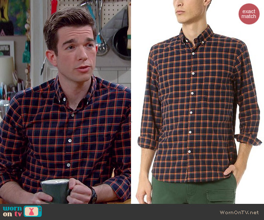 Steven Alan Single Needle Sport Shirt in Navy Check worn by John Mulaney on Mulaney