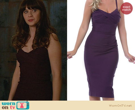 Stop Staring! Million Dollar Baby Wiggle Dress in Eggplant worn by Zooey Deschanel
