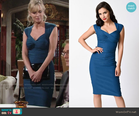 Stop Staring Love Dress in Peacock Blue worn by Eileen Davidson on The Young & the Restless
