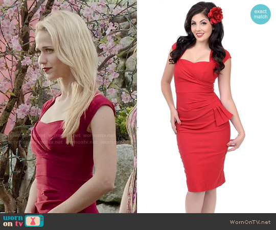 Stop Staring Red Uma Dress worn by Johanna Braddy on UnReal