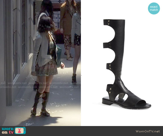 Stuart Weitzman Backview Sandals worn by Lucy Hale on PLL