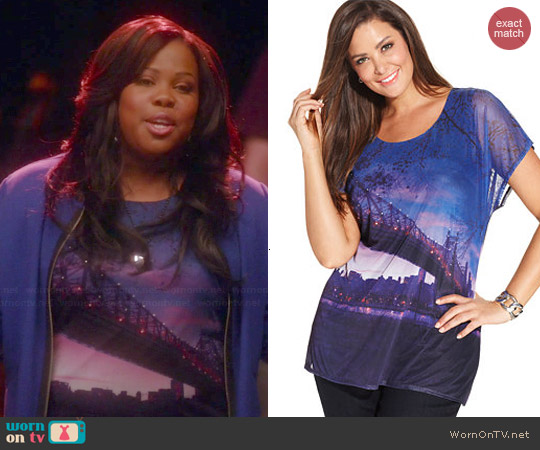 Style & Co Photo Print Top worn by Amber Riley on Glee