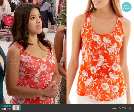 Stylus Racerback Linen Tank Top in Tangerine Floral worn by Gina Rodriguez on Jane the Virgin