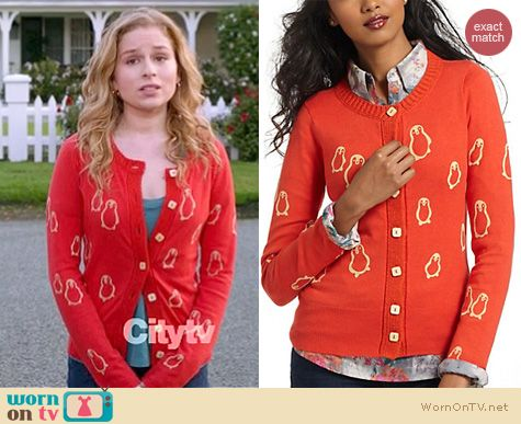 Suburgatory Fashion: Anthropologie Flocked Penguins cardigan worn by Allie Grant