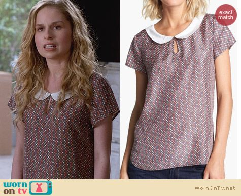 Suburgatory Fashion: Hinge Dot Print Collar Top worn by Allie Grant