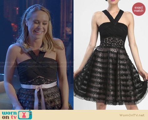 Sue Wong 2014 Resort Black & Rose Striped Empire Waist Dress worn by the girls on Glee