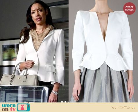 Suits Fashion: Alexander McQueen white peplum blazer worn by Gina Torres