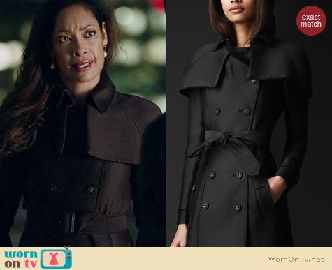 Suits Fashion: Burberry Double Duchess Trench coat worn by Gina Torres