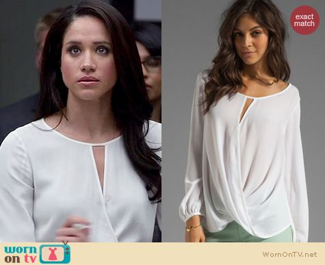 Suits Fashion: Ella Moss Stella Wrap blouse in white worn by Meghan Markle